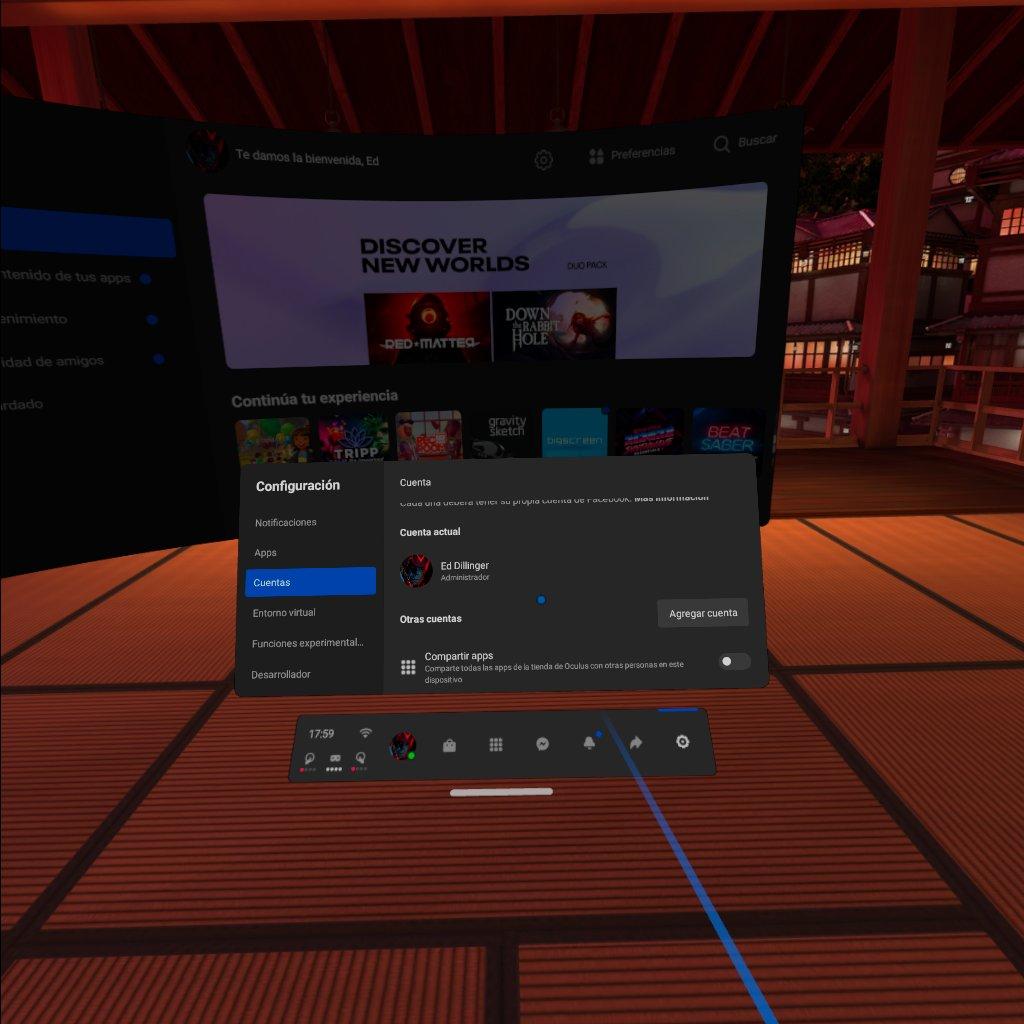 compartir aplicaciones en Oculus Quest Cuentas