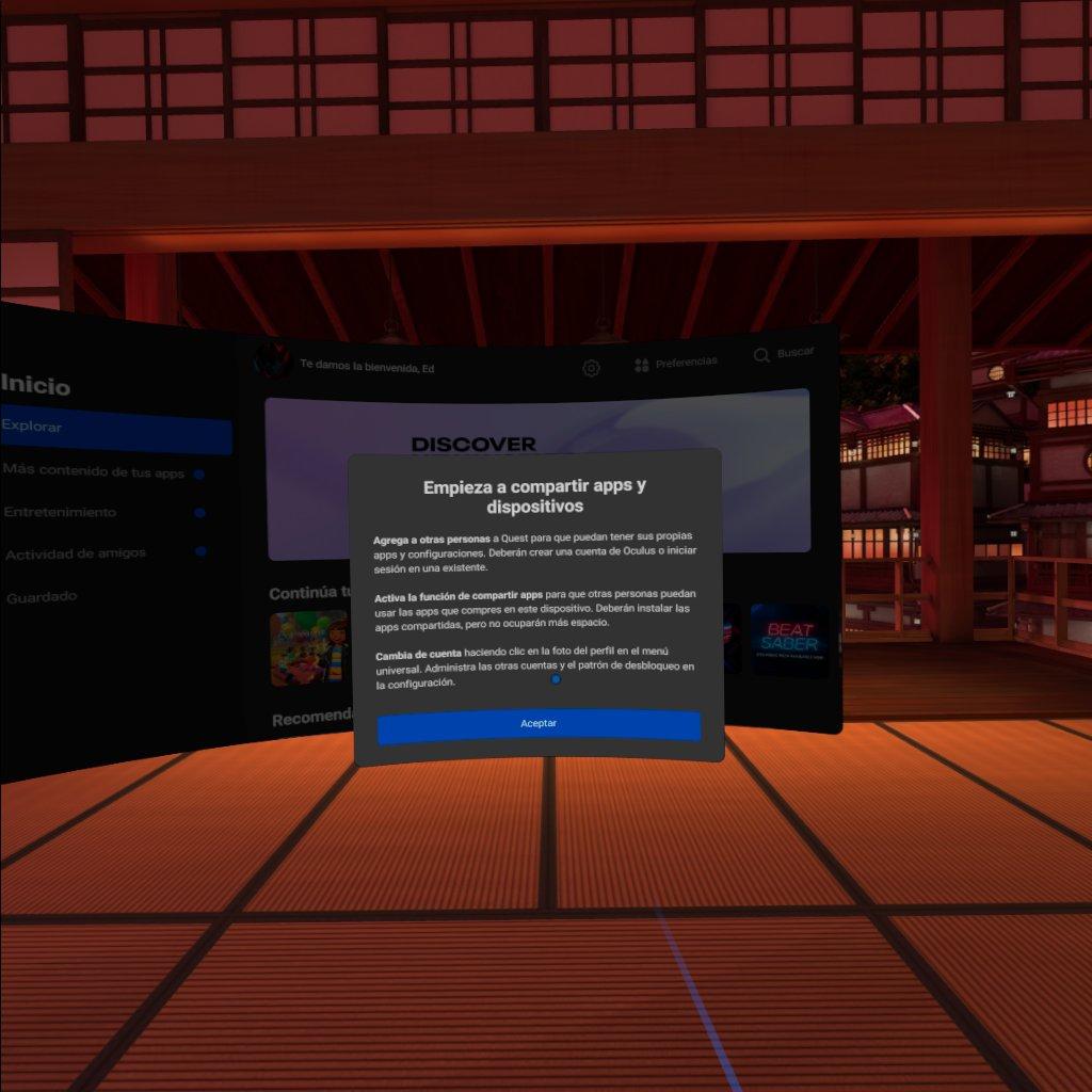 compartir aplicaciones en Oculus Quest Empieza
