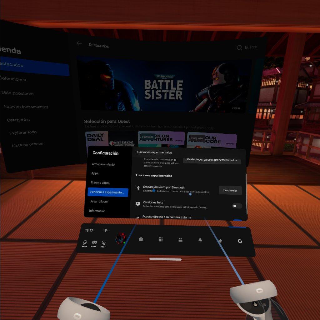 compartir aplicaciones en Oculus Quest Funciones experimentales