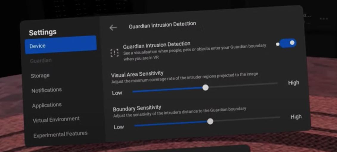 Detector de intrusiones en el guardián de Oculus Quest