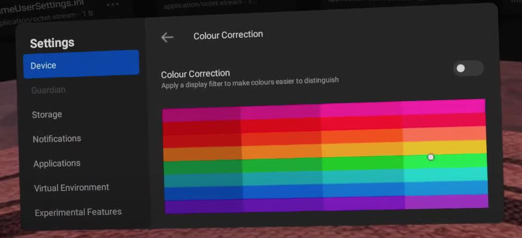 Corrección del color en Oculus Quest